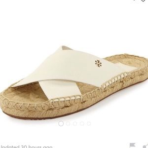 Tory Burch White Leather Bima Sandals